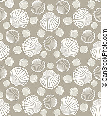 seashell pattern - Seamless scallop seashell of mollusks...