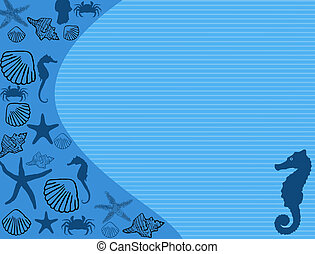 Seashell poster background with a variety of shells and with...