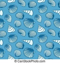 Seashell seamless background.