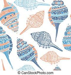 seashell, seamless, modèle