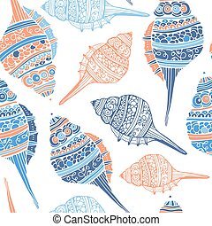 Seashell Seamless Pattern - Perfect vintage vector seamless...