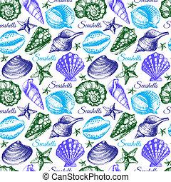 Seashell seamless pattern. Hand drawn sketch illustration
