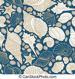 Seashell seamless pattern. Summer holiday marine background