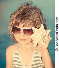 seashell, vrolijke , strand, luisteren, kind