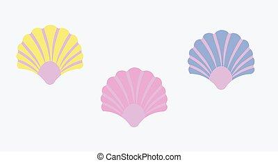Seashells collection. Vector flat cartoon illustration.