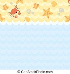 Seashells, crab, rocks, starfish on the beach and sea.