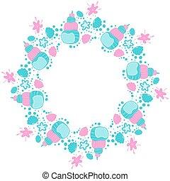 seashells, fond, copie, bulles, rond, vector., dessin animé, etoile mer, vide, space., scandinave, cadre, blanc, nautique, élégant, vide, template., style., puéril