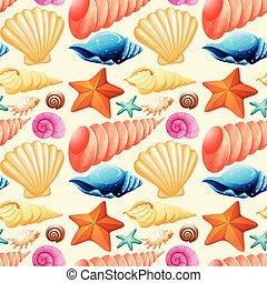 seashells, fond, seamless, etoile mer