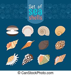 Seashells icons in flat style