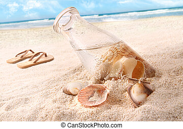 Seashells in a bottle on the beach