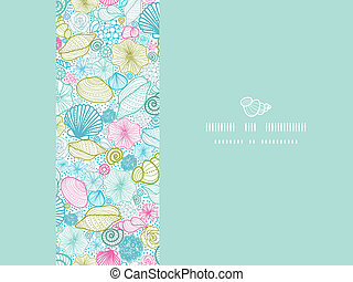 Vector seashells line art horizontal decor seamless pattern background with hand drawn elements.