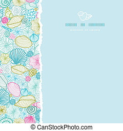 Seashells line art square torn seamless pattern background -...