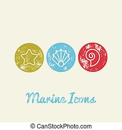 Seashells Marine Retro Icons