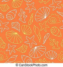 Seashells on orange background.