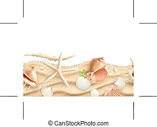 Seashells on sand, seamless background