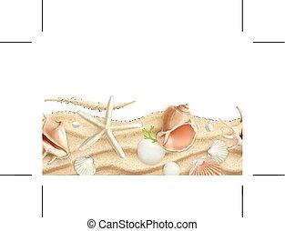 Seashells on sand,  seamless background