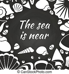 seashells, projektować, chalkboard, afisz