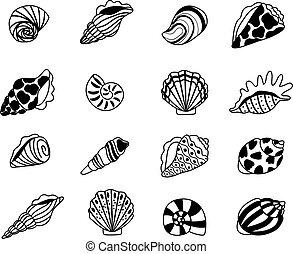 seashells, schizzo, icone