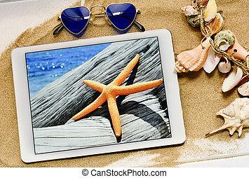 seashells, tabuleta, starfish, óculos de sol