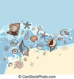 Seashells with sand background. - Sea shell with sea...