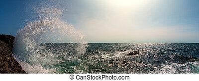 seashore and surge splash - Beauty nature sea landscape,...