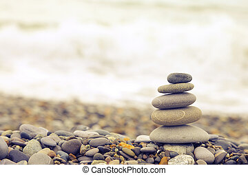 Seashore background with stone construction