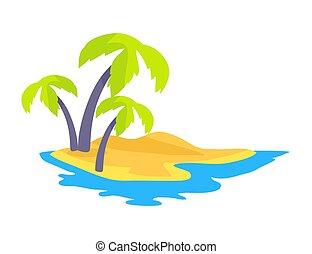 Seashore Coconut Palm Trees Vector Illustration