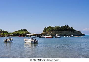 Seashore in Sidari on Corfu island, Greece