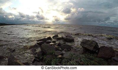 seashore in stormy weather - seashore beach in stormy...