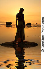 seashore silhouette - silhouette image of beautiful lady at...