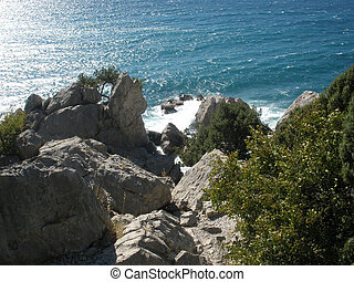Seashore. View from rocks