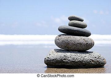 Seashore Zen - Pebble stack on the seashore