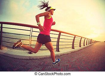 seaside., 女 シルエット, 試し, ランナー, wellness, 運動選手, 動くこと, ジョッギング, フィットネス, concept., 日の出