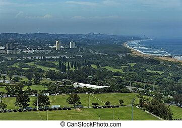 Seaside above view to Durban coast from Moses Mabhida...