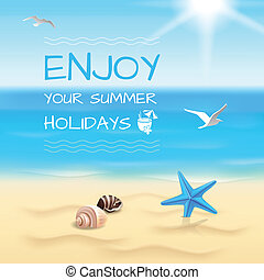 Seaside background layout - Summer holidays seaside beach...