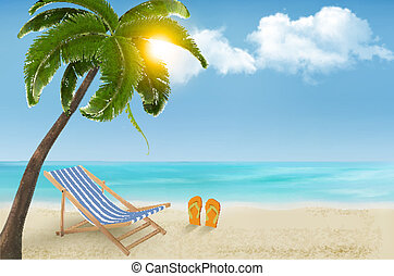 Seaside background with a beach chair and flip-flops. Vector...