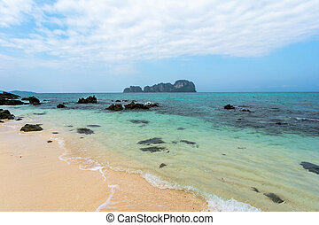Seaside beach in Thailand, Asia. Blue sky and white sand at ...