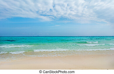 Seaside beach in Thailand, Asia.Blue sky and white sand at...