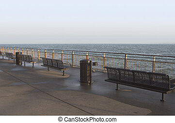 Seaside Benches - Metal benches overlook the water of San...