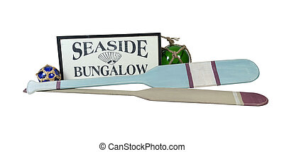 Seaside Bungalow Sign with Oars and Floats