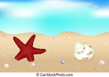 Seaside - Starfish, Shells And Pearls Over Sand