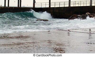 Seaside esplanade, stormy weather