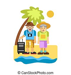 seaside., grands-parents, couple, repos, age moyen, heureux