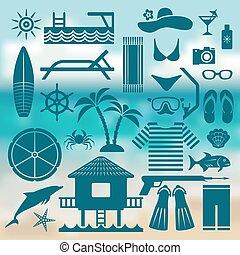 seaside holiday icon set