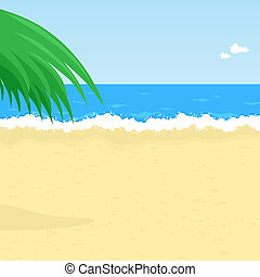 Illustration of seaside with palm tree