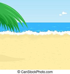 Seaside - Illustration of seaside with palm tree