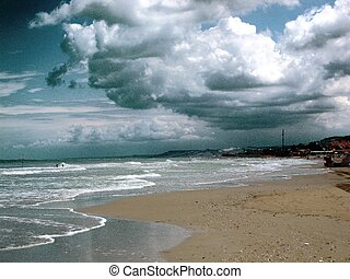 Seaside in a cloudy day