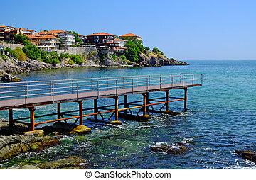 Seaside in old town of Sozopol, Bulgaria