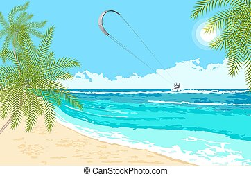 Seaside landscape with sea kite - Seaside landscape with...