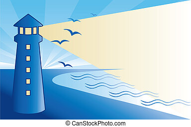 Coast landscape at dawn, seaside lighthouse with birds, beacon, ocean waves, crescent moon, stars. EPS8 compatible.
